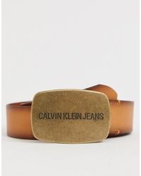 Мужской светло-коричневый кожаный ремень от Calvin Klein Jeans