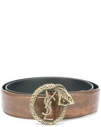 Женский светло-коричневый кожаный ремень от Saint Laurent