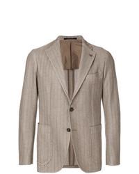 Светло-коричневый пиджак в вертикальную полоску