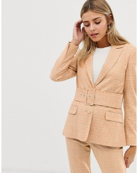Женский светло-коричневый пиджак в клетку от ASOS DESIGN