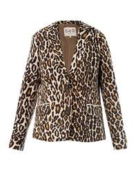 Светло-коричневый пиджак с леопардовым принтом