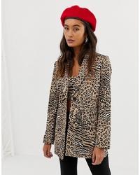 Женский светло-коричневый пиджак с леопардовым принтом от Sacred Hawk
