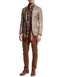 """Светло-коричневый пиджак с узором """"гусиные лапки"""""""
