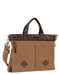 Светло-коричневый портфель из плотной ткани