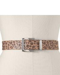 Светло-коричневый ремень с леопардовым принтом