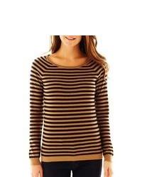 Светло-коричневый свитер с круглым вырезом в горизонтальную полоску