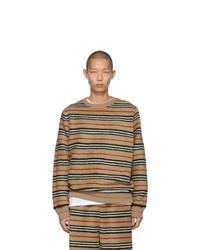 Мужской светло-коричневый свитер с круглым вырезом в горизонтальную полоску от Burberry