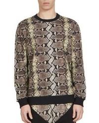 Светло-коричневый свитер с круглым вырезом с принтом