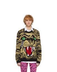 Мужской светло-коричневый свитер с круглым вырезом с принтом от Gucci