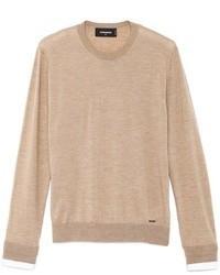 Светло-коричневый свитер с круглым вырезом