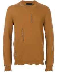 Мужской светло-коричневый свитер с круглым вырезом от Alexander McQueen
