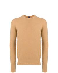 Мужской светло-коричневый свитер с круглым вырезом от Drumohr