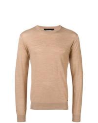 Мужской светло-коричневый свитер с круглым вырезом от DSQUARED2