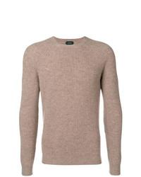 Мужской светло-коричневый свитер с круглым вырезом от Zanone