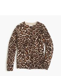 Светло-коричневый свитер с леопардовым принтом