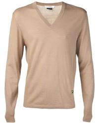 Светло-коричневый свитер с v-образным вырезом