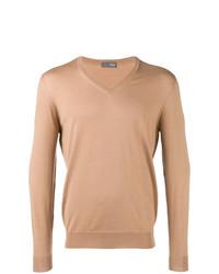Мужской светло-коричневый свитер с v-образным вырезом от Drumohr