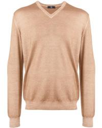 Мужской светло-коричневый свитер с v-образным вырезом от Fay