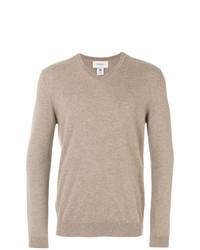 Мужской светло-коричневый свитер с v-образным вырезом от Pringle Of Scotland