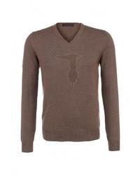 Мужской светло-коричневый свитер с v-образным вырезом от Trussardi Jeans