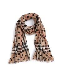 Светло-коричневый шарф в горошек