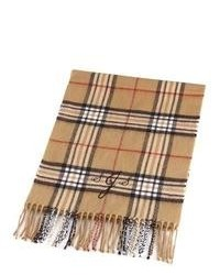 Светло-коричневый шарф в шотландскую клетку