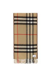 Мужской светло-коричневый шарф в шотландскую клетку от Burberry