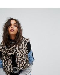 Женский светло-коричневый шарф с леопардовым принтом