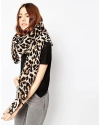 Женский светло-коричневый шарф с леопардовым принтом от Asos