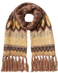 Светло-коричневый шарф с принтом