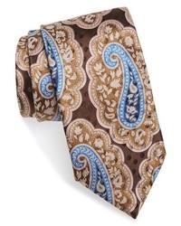 """Светло-коричневый шелковый галстук с """"огурцами"""""""