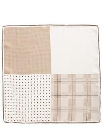 Светло-коричневый шелковый нагрудный платок