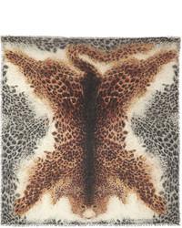 Светло-коричневый шелковый шарф с леопардовым принтом