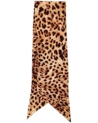 Светло-коричневый шелковый шарф с принтом