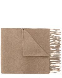 Мужской светло-коричневый шерстяной вязаный шарф от Pringle