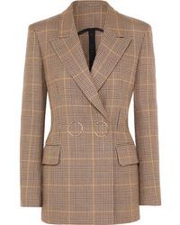 Женский светло-коричневый шерстяной двубортный пиджак в клетку от Petar Petrov