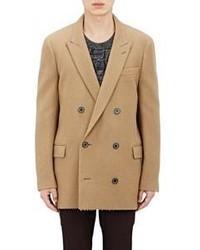 Светло-коричневый шерстяной двубортный пиджак
