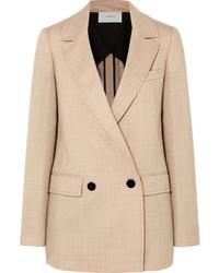 Женский светло-коричневый шерстяной двубортный пиджак от Casasola
