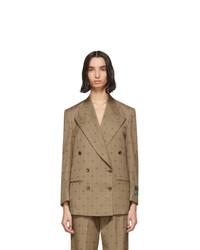 Женский светло-коричневый шерстяной двубортный пиджак от Gucci