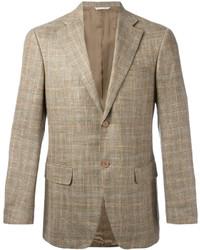 Светло-коричневый шерстяной пиджак в клетку