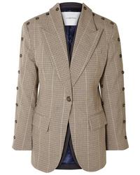 Женский светло-коричневый шерстяной пиджак в клетку от PushBUTTON