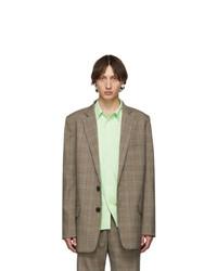 Мужской светло-коричневый шерстяной пиджак в клетку от Tibi