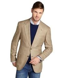 Светло-коричневый шерстяной пиджак в шотландскую клетку