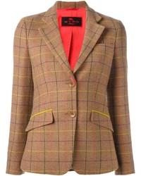 Женский светло-коричневый шерстяной пиджак в шотландскую клетку от Etro