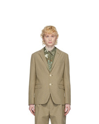 """Светло-коричневый шерстяной пиджак с узором """"гусиные лапки"""""""