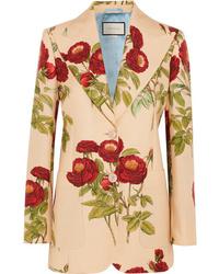 Женский светло-коричневый шерстяной пиджак с цветочным принтом от Gucci
