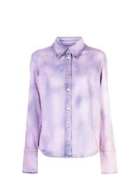Женская светло-фиолетовая джинсовая рубашка c принтом тай-дай от MSGM