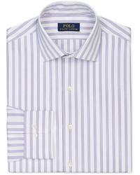 Светло-фиолетовая классическая рубашка в вертикальную полоску