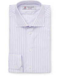 Мужская светло-фиолетовая классическая рубашка в вертикальную полоску от Turnbull & Asser