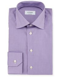 Светло-фиолетовая классическая рубашка в мелкую клетку